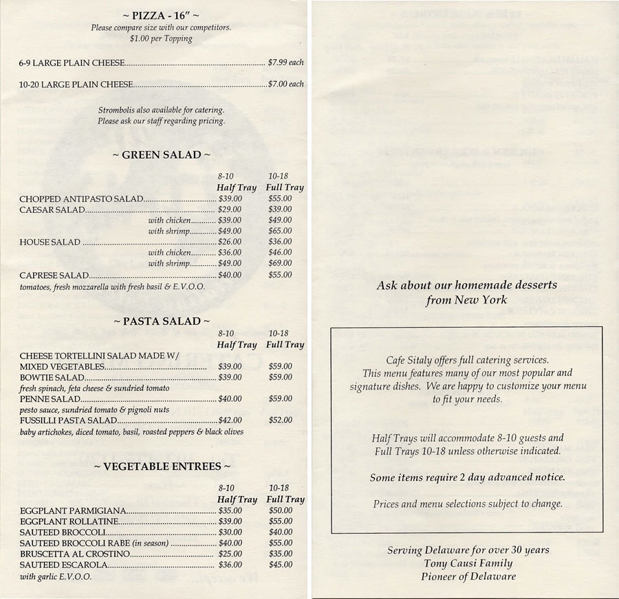 Cafe Sitaly Menu