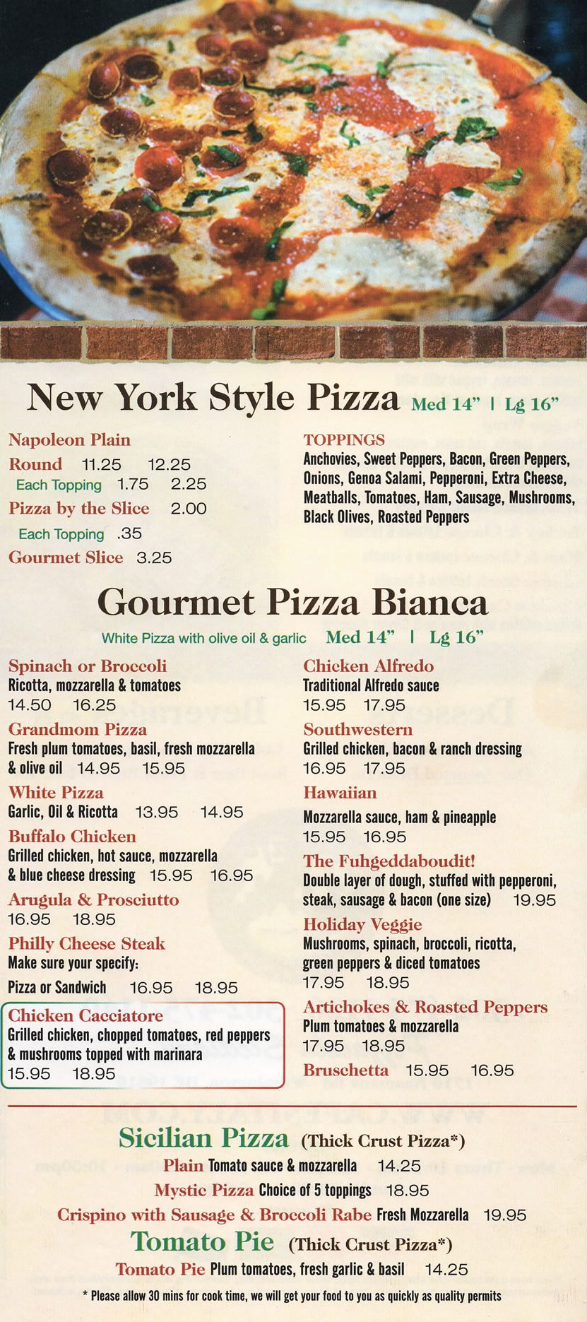 Take Out Pizza Menu CafenSitaly