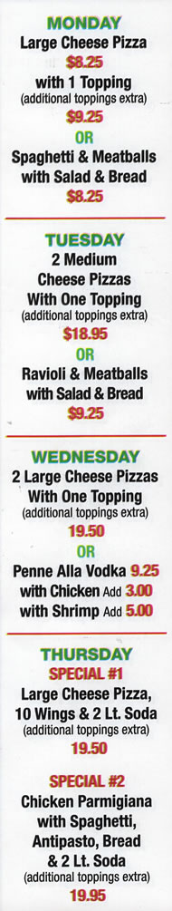 CAFE SITALY Daily Specials