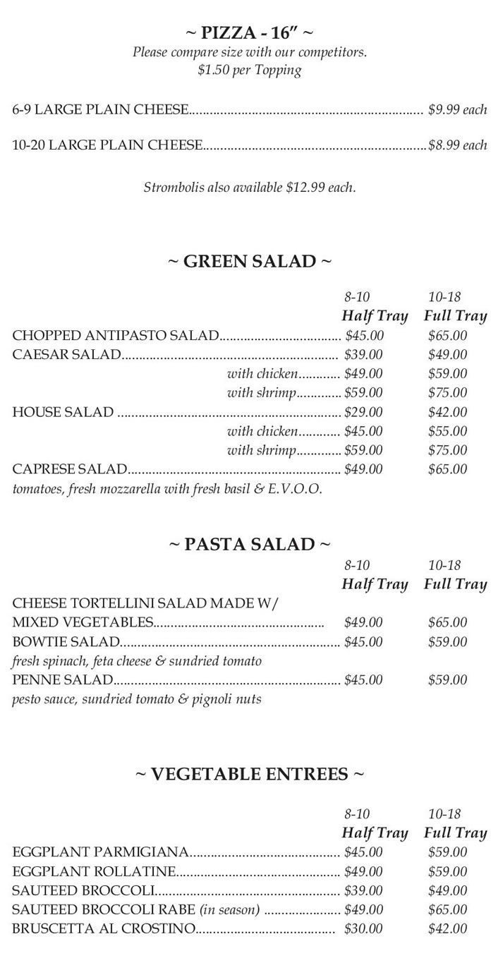 Cafe Sitaly Catering Menu Pizza Salads Vegetable Entrees