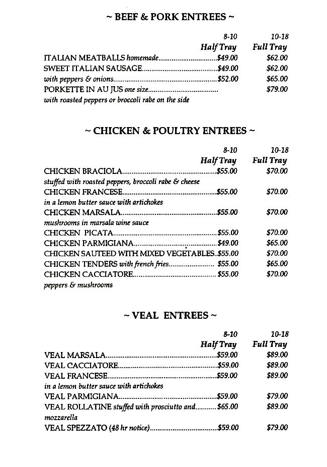Catering Chicken Beef Veal Pork CAFE SITALY