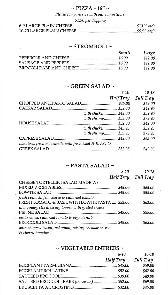 Cafe Sitaly Catering Menu Pizza Stromboli Salads Vegetables Wilmington Delaware