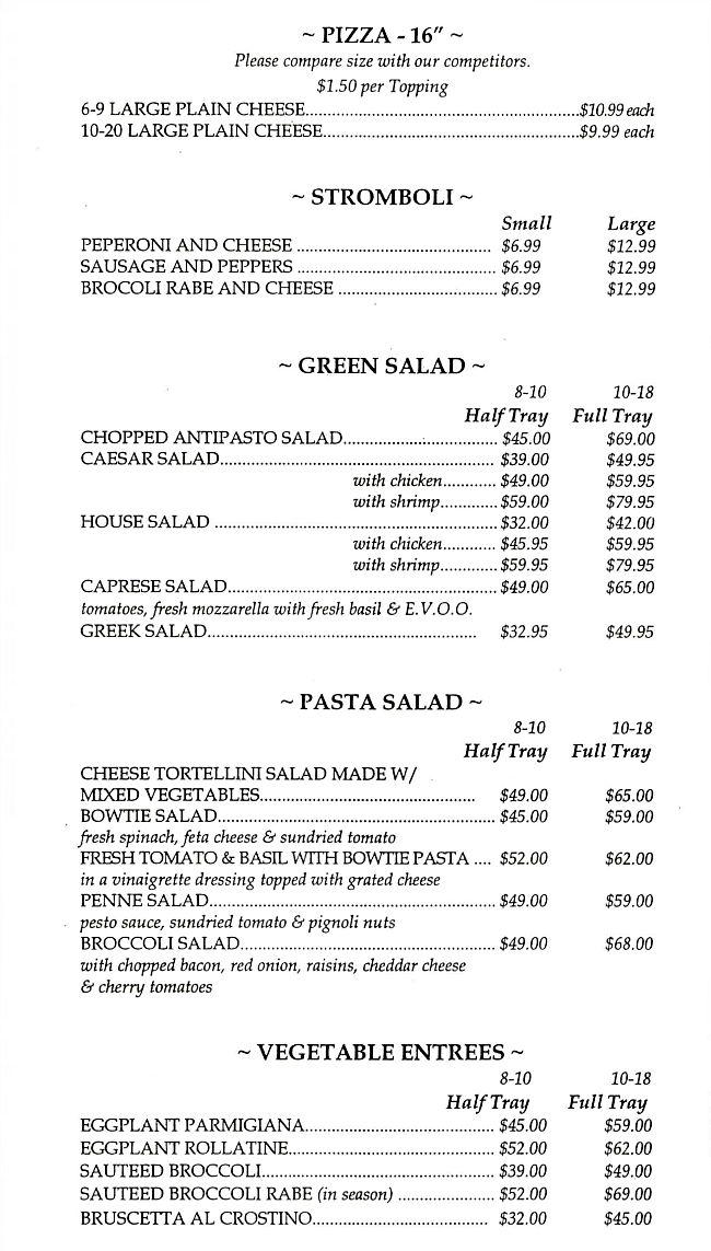 Cafe Sitaly Catering Menu Pizza Stromboli Salads Vegetables Wilmington Delaware