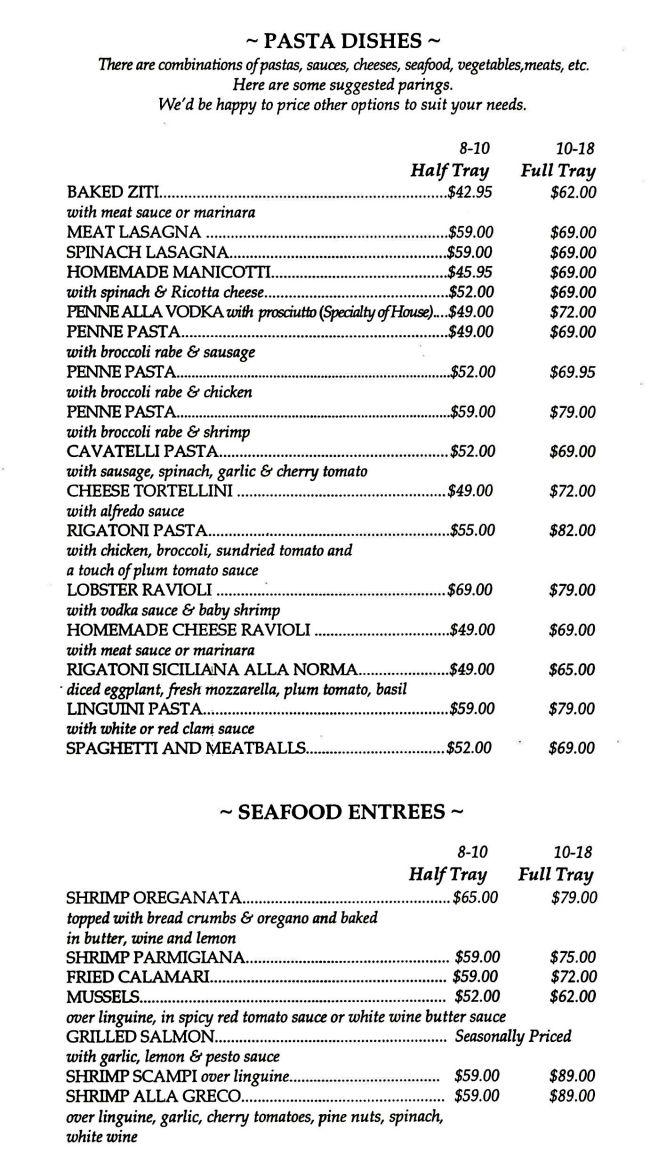 Cafe Sitaly Catering Menu - Pasta & Seafood Wilmington Delaware